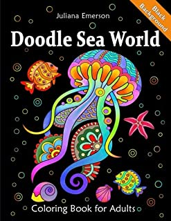 Doodle Sea World Coloring Book for Adults Black Background