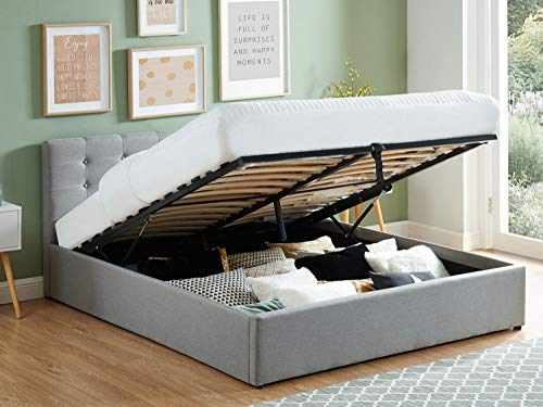 HOMIFAB Lit Coffre 160x200 en Tissu Gris Clair avec tête de lit et sommier à Lattes - Collection Tina