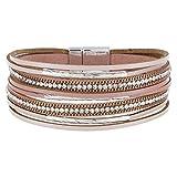StarAppeal Armband Lederarmband mit Strass, Ketten und Schmuckelementen, Magnetverschluss Silber, Damen Armband (Rosa)