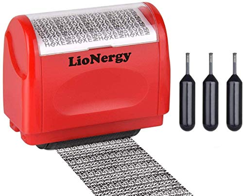 Identity Protection Roller Stamp Lionergy 1.5 Inch Wide Roller Identity Theft Prevention Security Stamp (Red Roller Stamp with 3 Refills)