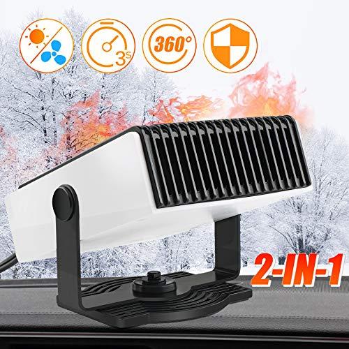 TBoonor Calefactor para coche 2 en 1 para descongelar el coche, con protección contra sobrecalentamiento y rotación de 360°, calentamiento rápido, ventilador de refrigeración (12 V, 150 W)