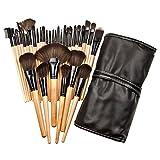 32pcs Makeup Brushes Set Professional Cosmetic Foundation Powder Eyeshadow Brush Kit with Bag (Wooden)