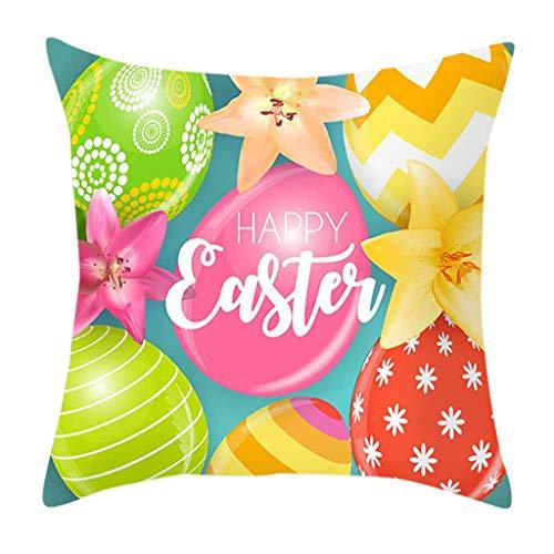 Transwen - Funda de cojín con impresión 3D de Pascua, decorativa, para sofá, salón, sofá con cremallera invisible, 45 cm x 45 cm, 18 x 18 pulgadas