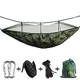Bihuo Hamac de Camping portatif - Hamac extérieur/intérieur Double/Simple avec Un Filet pour Insectes, 2 Sangles suspendues,...