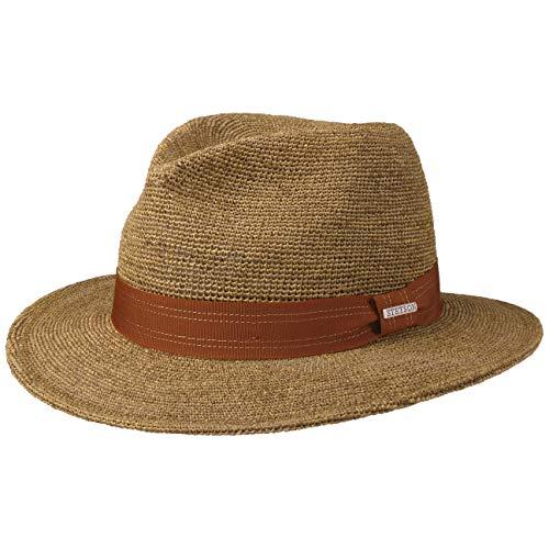 Stetson Sombrero de Rafia Crochet Traveller Hombre - Paja Sol con Banda Grosgrain Primavera/Verano - L (58-59 cm) marrón