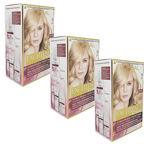3x L'Oreal Haarfarbe Excellence Cream - (3x192ml) (10 - Licht Blond)