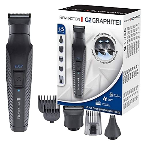Remington G2 Graphite Series Recortadora de Barba y Cortapelos - Inalámbrico, Revestimiento de Grafito, 5 Accesorios, Autonomía 40 min, Negro - PG2000