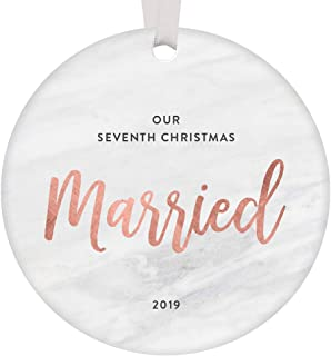 Our 7th Christmas Married Ornament 2019 Seven Years Couple Together Wedding Anniversary Keepsake Gift Ideas Seventh Holiday Mr & Mrs Present Sleek Rose Gold Marble 3