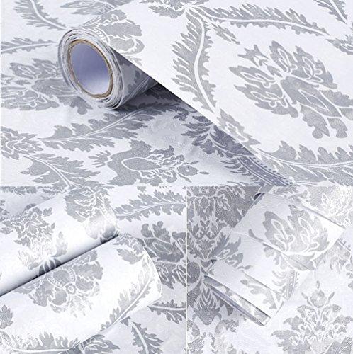 Carta da parati autoadesiva in vinile grigio damascato per cucina, parete camera da letto (60 x 500 cm)