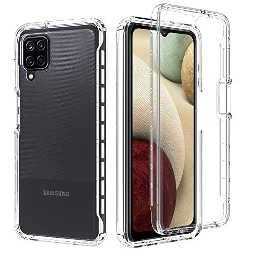 """OWKEY Funda Samsung A12 + Pantalla Protector Integrado (Protector 2 en 1) Carcasa 5X Grado Militar Anti-caída 360° Protección para Samsung A12 -Transparente - (6.5"""")"""