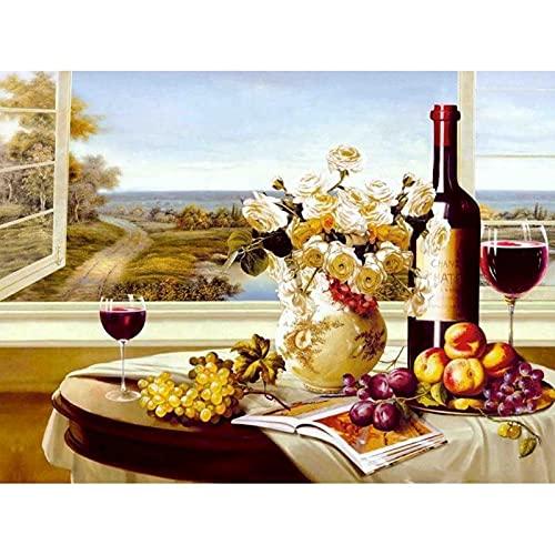 ZXDA Frameless Pintura al óleo por números para Adultos Vino Rosado Imagen por número Decoración del hogar Pintura al óleo Pintada a Mano A12 60x75cm