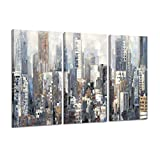 Hardy Gallery Abstract City Picture Wall Art: Urban Downtown Artwork Painting Print on Wrapped Canvas for Office (26'' x 16'' x 3 Panels)