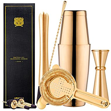 Boston Cocktail Shaker Bar Set By Homestia 8-Piece: 18oz & 28oz Shaker Tins, Hawthorne Cocktail Strainer, Double Jigger, 12'' Mixing Spoon, 7'' Drink Muddler and 2 Cocktail Pourer (Gold Plated)