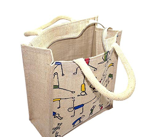 Mistazzo® Eco-Friendly Jute Bag, Yoga Printed Tiffin/Shopping/Grocery Hand Bag with Zip & Handle for Men and Women (Beige, 2PC 14.5x5x12 Inches) - Pack of 2 Jute Bags