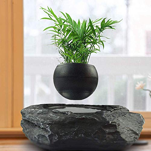 PLEASUR drijvende bonsai pot - Magnetische drijvende bloempotten - Creatief ontwerp Levitation Bonsai - Decoraties voor kantoor thuis - Grappig cadeau, zwart-groot