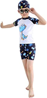 Baby Toddler Boys Two Piece Swimsuit Kids Short Sleeve Sunsuit Swimwear Sets with Hat