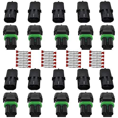GTIWUNG 10 tlg 2,5 mm Series 2 polig Stecker Steckverbinder Wasserdicht, Steckdose Set für KFZ, Auto Elektrischer Anschluss Stecker