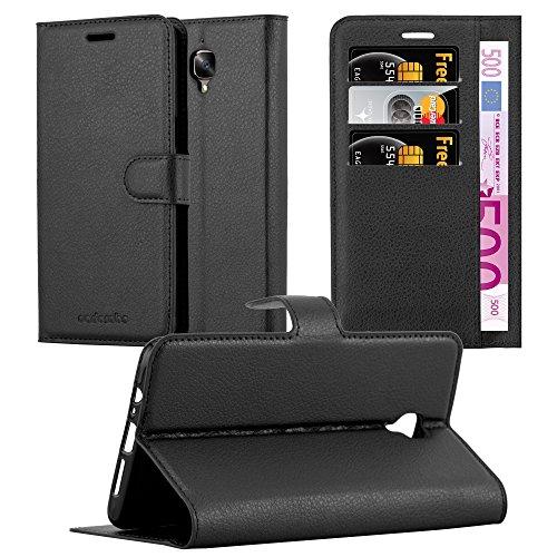Cadorabo Hülle für OnePlus 3 / 3T in Phantom SCHWARZ - Handyhülle mit Magnetverschluss, Standfunktion & Kartenfach - Hülle Cover Schutzhülle Etui Tasche Book Klapp Style