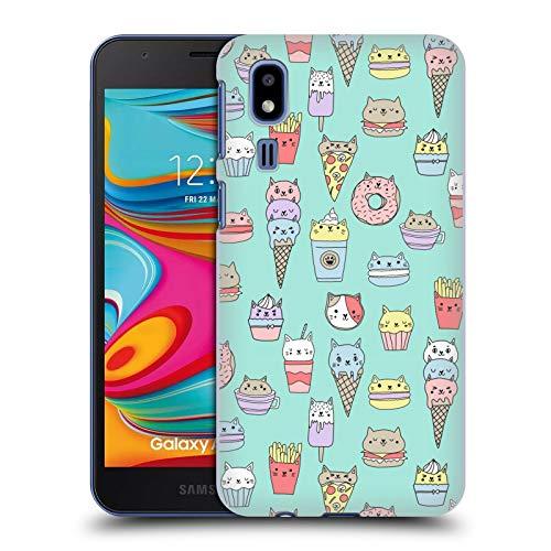 Officiële Andrea Lauren Design Kattenvoer Voedsel Patroon Hard Back Case Compatibel voor Samsung Galaxy A2 Core (2019)