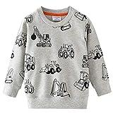 Little Hand Jungen Sweatshirt Jumper für Kinder Sweater Dinosaur Hakenmaschine Bulldozer Baumwolle Langarm T Shirts Pullover (1-Bulldozer,DE 104)