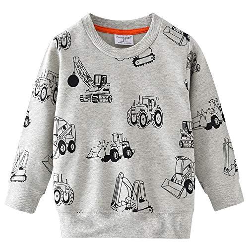 Little Hand Jungen Sweatshirt Jumper für Kinder Sweater Dinosaur Hakenmaschine Bulldozer Baumwolle Langarm T Shirts Pullover 104 /HerstellerGröße: 110