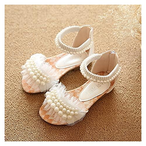 Youpin ULKNN - Sandalias de gladiador para niños de verano de 2020, sandalias de princesa para niños (color: blanco, talla de zapato: 24 (longitud 15 cm)