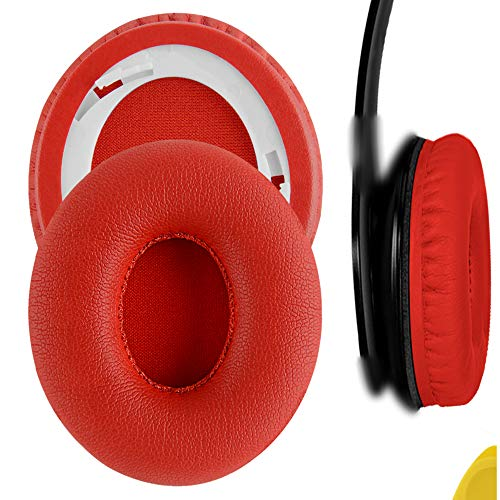Geekria QuickFit Protein Leather Ear Pads Replacement for B SoloHD On-Ear Headphones Earpads/Ear Cushion/Ear Cups, Headset Ear Cover Repair Parts (Red)
