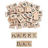 KINDPMA 100 Pcs Letras de Madera Scrabble A-Z Alfabeto Madera Infantiles con Numero Letras para Bebe...
