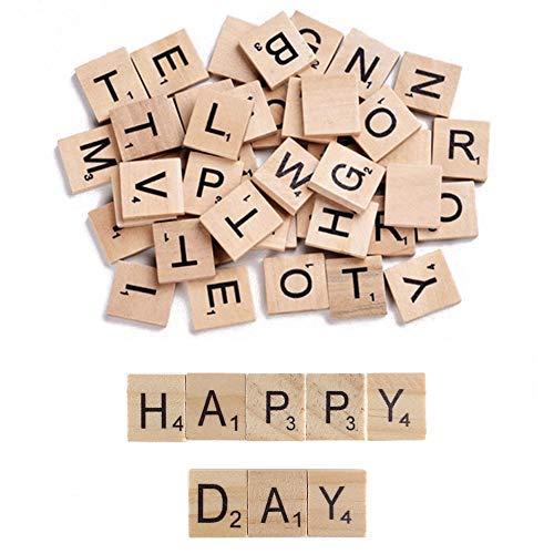KINDPMA 100 Pcs Letras de Madera Scrabble A-Z Alfabeto Madera Infantiles con Numero Letras para Bebe Juegos de Scrabble Ortografia Decoración Bricolaje