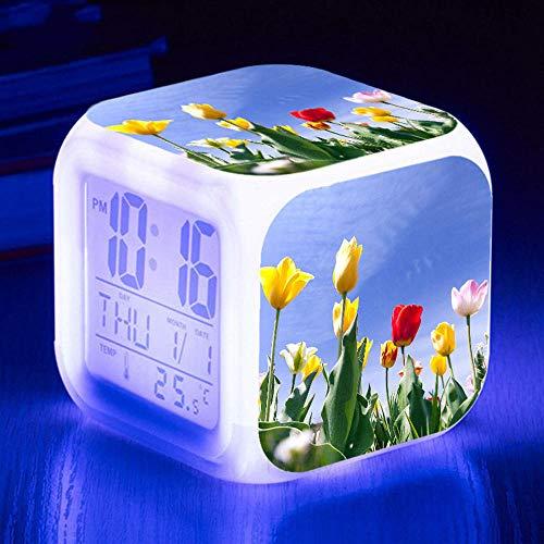 HUA5D Despertador Digital Flor De Tulipán Infantil Regalos De Cumpleaños Wake Up Light Alarm Clocks Niño & Niña Dormitorio Decorar-Niños 7 Color Cambiante Luz Nocturna Lampara De Cabecer(B392)