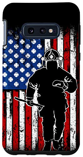 Galaxy S10e Firefighter Thin Red Line American Flag Fireman Phone Case
