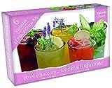 kit per la coltivazione delle piante da funky cocktail: menta, fragole, basilico, limone, lavanda, cetrioli e borraggine. include semi, terriccio, cartellini e serretta.