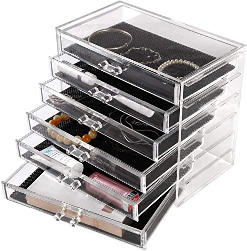 femor Acryl Kosmetik Aufbewahrung Organizer, Make-up Organizer mit 6 Schubladen,Kosmetik- Organizer für Schminke und Schmuck , transparent,23.8 x 15 x 20.5cm