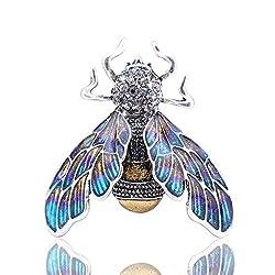 Purple Bumble Bee Enamel Brooch With Rhinestones