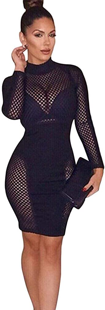 Fashion Clubwear Women Hollow Out Bandage Mock Neck Long Sleeves Bodycon Dress