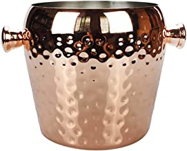 SBWFH Round Hammered Design Ice Bucket Bottles Home Bar Wine Cooler Stainless 2L Ice bucket