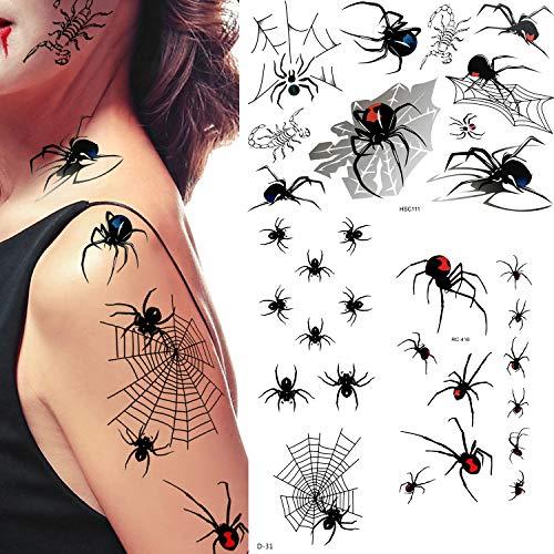 40 Fogli Halloween Temporaneo Tatuaggi di Ragno e Tatuaggi di Ragnatela Adesivo per Halloween Festa