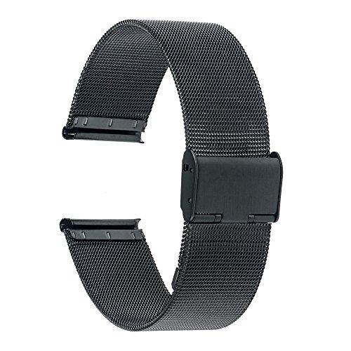 TRUMiRR 18mm Uhrenarmband Mesh Edelstahl Metallarmband kompatibel für Huawei Uhr 1/Fit Ehre,Asus Zenwatch 2 Damen 1.45 '' WI502Q,Withings Activite/Stahl HR 36mm,Fossil Q Tailor,36mm Daniel Wellington