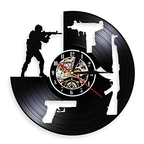 bbmmww soldaten training vinyl record art decoratie schieten vinyl record wandklok leger silhouet muur kunst wapen familie liefhebbers geschenk Met led-licht.