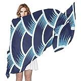 FAJRO - Bufandas para mujer, diseño curvo, color azul oscuro