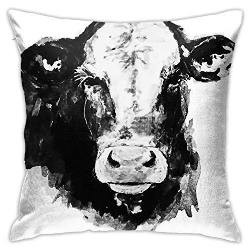 wteqofy Fundas de almohada de terciopelo blanco y negro con impresión artística de vaca, fundas de almohada decorativas cuadradas, funda de cojín suave para sofá, dormitorio, coche, 45,7 x 45,7 cm