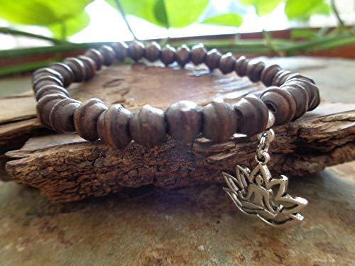 ✿ GEDRECHSELTES HOLZ YOGA MEDITATION ARMBAND FUSSBAND ✿ Buddhismus, Stetch Armband, dehnbar, unisex, Buddha, Lotus, Vipassana