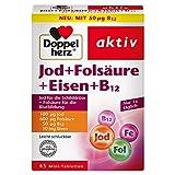 Doppelherz Jod + Folsäure + Eisen + B12 – Mit Folsäure als Beitrag für die normale Blutbildung – 45 Mini-Tabletten