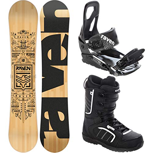 RAVEN Snowboard Set: Snowboard Solid + Bindung s200 Black + Boots Target (168cm Wide + s200 M/L + Target 45)