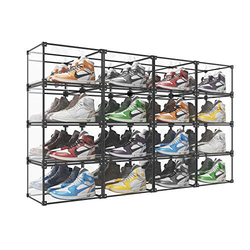 SOGOBOX Clear Acrylic Shoe BoxSneaker Display case with MirrorFoldable Stackable Shoe Display CaseAs Shoe Box Storage Containers and Plastic Shoe Box for Display SneakersCollectibles - 16 Pack
