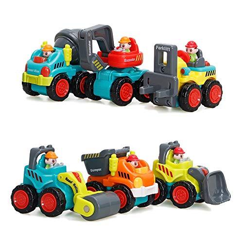 WISHTIME Baby Spielsachen Spielzeugauto Baufahrzeuge Frühe Bildung Spielzeug 6 Baufahrzeuge in einem Set für Kinder Jungen Mädchen ab 18 Monate