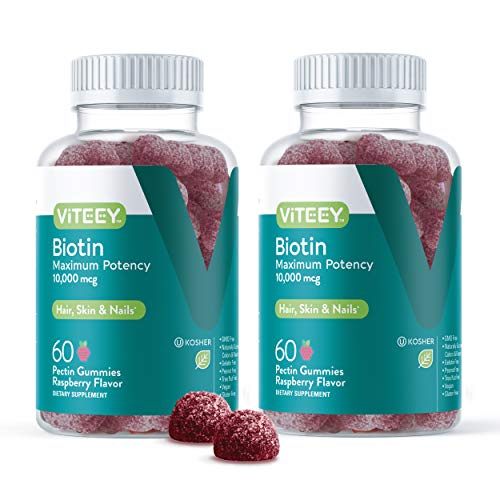 Biotin Gummies 10,000mcg - Highest Potency Vitamin B7 for Healthy Hair Growth, Skin & Nails - Dietary Supplement, Vegan, Pectin Gummy - for Adults Teens & Kids -Raspberry Flavor [60 Count-2 Pack]