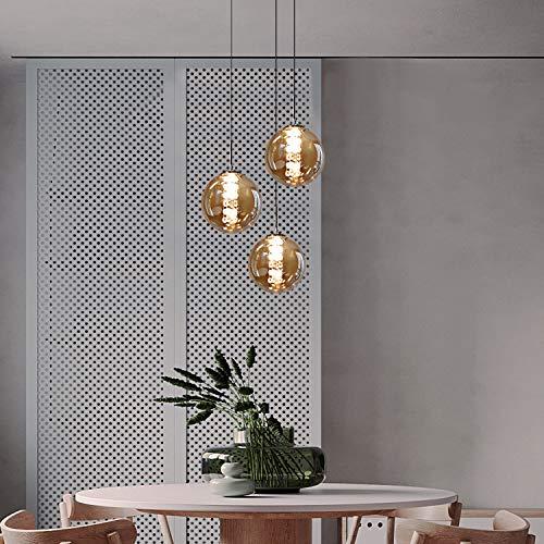 CBJKTX Pendelleuchte esstisch Pendellampe Höhenverstellbar Kronleuchter Hängeleuchte 3-Flammig aus Glas in Farbe Bernstein Küchen Wohnzimmerlampe Schlafzimmerlampe Flurlampe