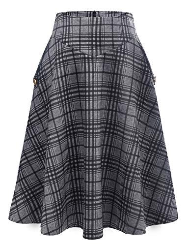 Bbonlinedress Rock Damen Lang Vintage Elegant Plaid Winterrock Warm Elastische Taille A Linie Röcke Casual Rock Hohe Taille Midi Rock Black Grey Plaid 2XL