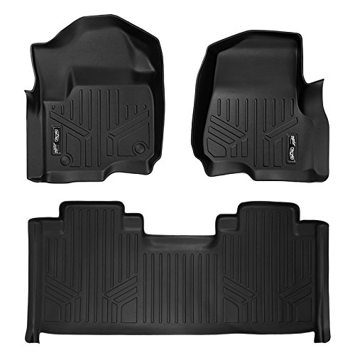 MAXLINER Floor Mats 2 Row Liner Set Black for 2017-2019 Ford F-250/F-350 Super Duty SuperCab with 1st Row Bucket Seats